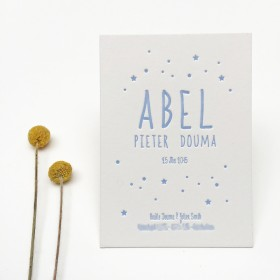 Geboortekaartje-letterpress-abel-sterretjes 1