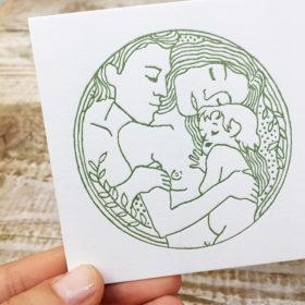 letterpress-geboortekaartje-phaedra-klimt-oudersmetkind-illustratie