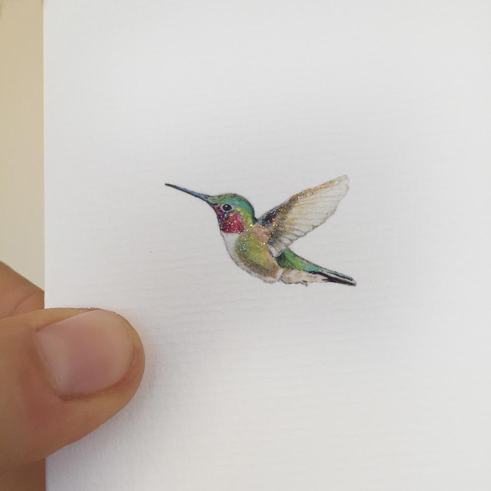Kolibri Geboortekaartje Aquarel Diertjes Geschilderd Emboss Glitter