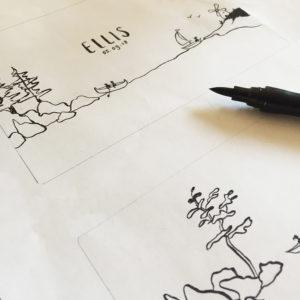 letterpress-geboortekaartje-tekening-handgemaakt-eigenontwerp-fineliner-aquarel-custommade-persoonlijk-tekening-illustratie-kust-bootje-varen