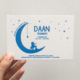 letterpress geboortekaartje Daan maan sterren broertje zusje