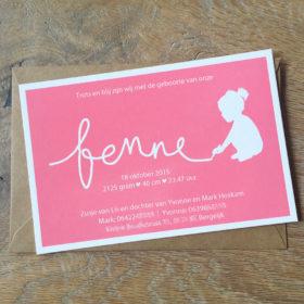 letterpress-geboortekaartje-fenne-roze-silhouet-meisje-zusjes-zusje-kleuren-schrijven-naam-tekenen-amsterdam-karton-echt-silhouet