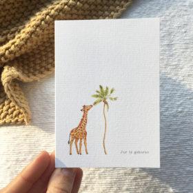 aquarel-geboortekaartje-giraffe-olifant-jur-handgetekend-orgineel-persoonlijk-jungle-afrika-savanne-dieren-waterverf-cotton-paper-illustratie