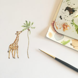aquarel-geboortekaartje-giraffe-waterverf-handgemaakt-uniek-eigen-orgineel-afrika-jungle-palmboom-savanne