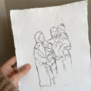 Gezinstekening-lijntekening-gezin-familietekening-geboortekaartje-huwelijkskaart-persoonlijk-geschept-khadi