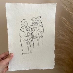 gezinstekening-familieportret-lijntekening-foto-inkt-persoonlijk