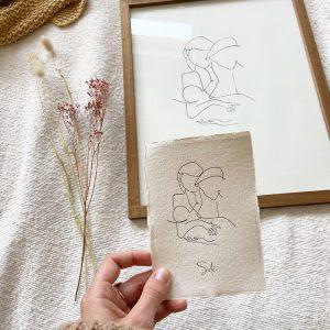 letterpress-geboortekaartje-tekening-illustratie-moeder-kind-vader-schets-geschept-lijntekening-simpel-eenvoud-uniek-Solé-prent