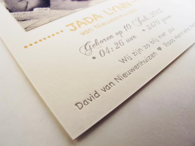 Letterpress geboortekaartje Jada Lynn
