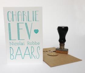 Geboortekaartje Charlie voorkant letterpress1