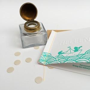 Letterpress-geboortekaartje-tweeling-bootje-mintgroen-fluor oranje- naairandje