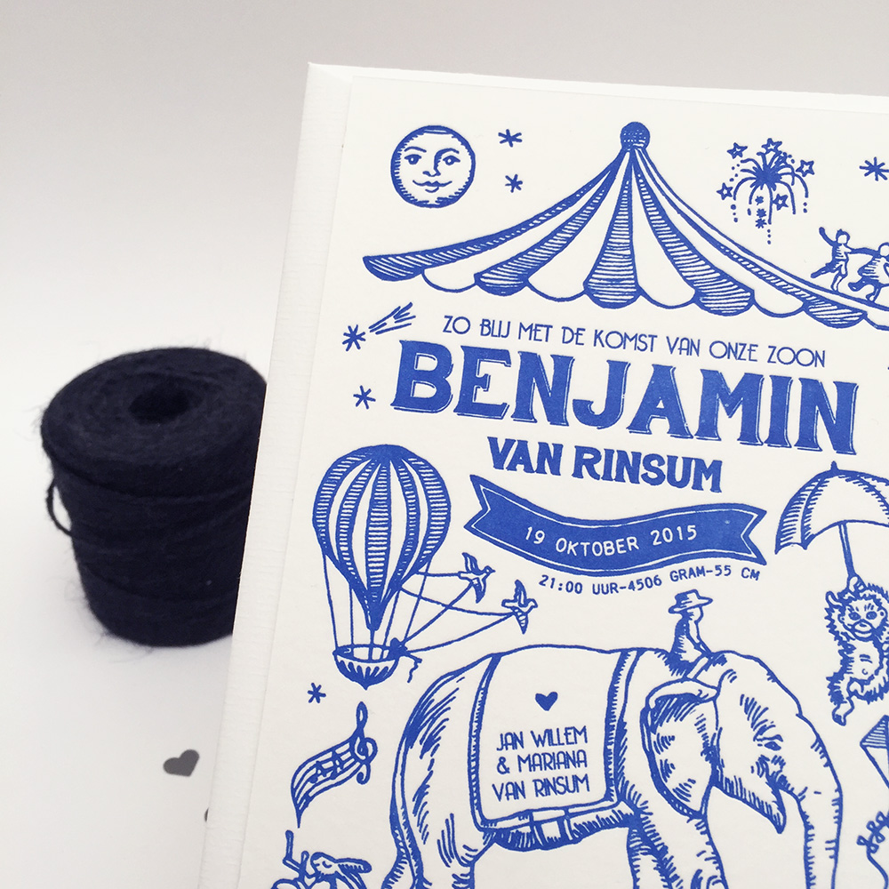Letterpress geboortekaartje Benjamin circus festival thema