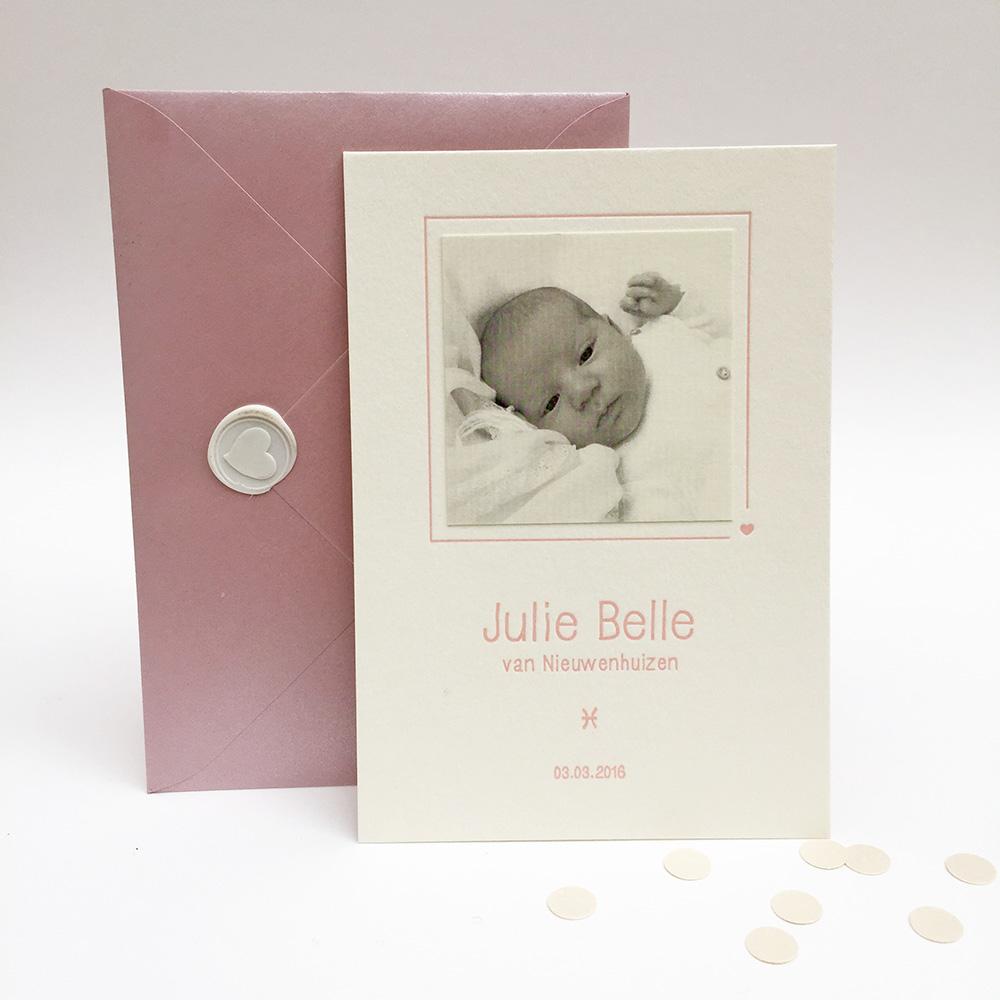 Letterpress-geboortekaartje-julie-belle-zusjes-roze-foto