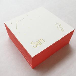 letterpress-geboortekaartje-sam-meisje-silhouet-sterren-vierkant-abrikoos-kleuropsnede-goud-inkt