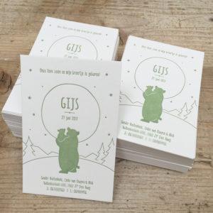 letterpress-geboortekaartje-niek-gijs-beren-hallokleinebeer-welterustenkleinebeer-kinderboek-oudgroen-olijfgroen-beren-natuur