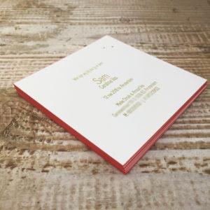 letterpress geboortekaartje sam sterren goud roze
