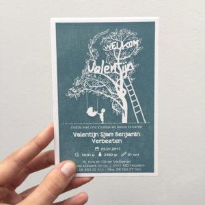 letterpress geboortekaartje Valentijn met boom in vorm van nederland/tree of life en 2 broertjes