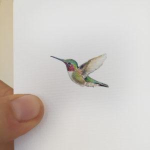 kolibri-geboortekaartje-aquarel-diertjes-geschilderd-emboss-glitter-glittertje-hummingbird-drawing-tippi