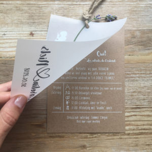 huwelijkskaartje-kraft-bruin-doorzichtig-kalkpapier-setje-touwtje-frankrijk-franse-wedding-bruiloft-illustratie-icoontjes-sierlijk-getekend-summer-chique