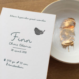 letterpress-geboortekaartje-finn-veertje-stippen-diepdruk-relief-karton-okergeel-parelhoen-veertje-katoenpapier
