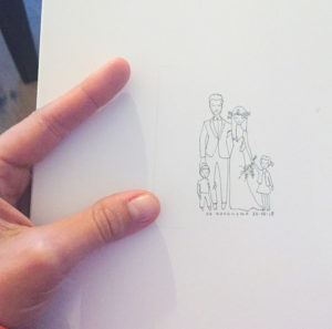huwelijks-tekening-koppeltekening-getrouwd-paar-tekenen-stel-bruiloftstekening-gezin-illustratie-uniek-persoonlijk-letterpress-amsterdam
