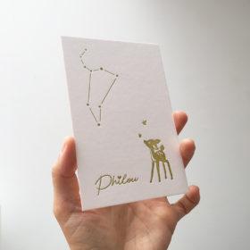 Geboortekaartje letterpress Philou