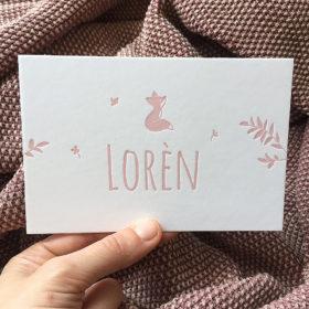 Letterpress geboortekaartje Loren vosje