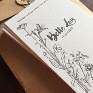 letterpress geboortekaartje botanisch wilde bloemen illustratie