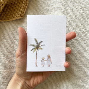 aquarel-geboortekaartje-geschilderd-getekend-illustratie-zusjes-strand-palmboom