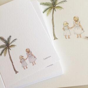 aquarel-geboortekaartje-zusjes-palmboom-strand-tekening-lief-illustratie-handgetekend-uniek-orgineel