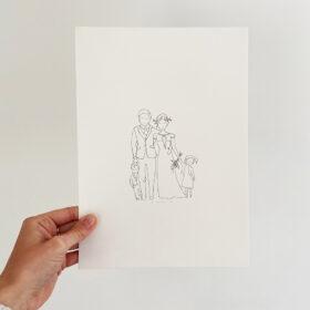 gezinstekening-lijntekening-familieportret-huwelijkskaart-a4